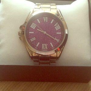 Ladies pink glitter watch